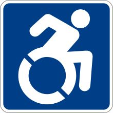 white line figure of a person leaning forward, arm raised to propel a wheelchair, blue background
