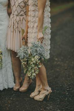nude and blush mismatching bridesmaid dresses