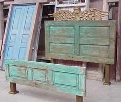 This is awesome for our newly made over shabby chic bedroom. Pretty sure my dad has some old wooden doors I could use for this too :)Savvy and Inspiring shabby chic headboard ideas on this favorite site Repurposed Furniture, Rustic Furniture, Painted Furniture, Diy Furniture, Repurposed Doors, Furniture Movers, Office Furniture, Bedroom Furniture, Furniture Projects