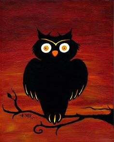 Halloween art Red Owl digital art print by onelizziemonster #boden and #magicalmenagerie