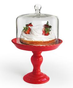 Take a look at this Jay Import Red Bianca Pedestal Plate & Dome by Entertaining Essentials Collection on #zulily today!