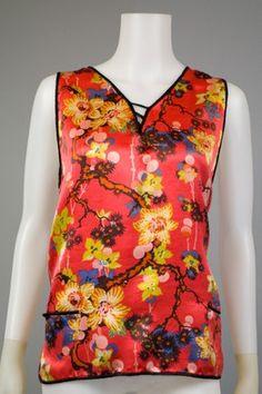 oriental inspired style 1920s silk sleeveless top
