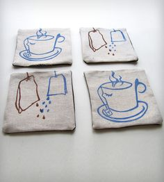 Tea Bag Fabric Coaster Set | Home Decor | Fastsoft Press | Scoutmob Shoppe | Product Detail