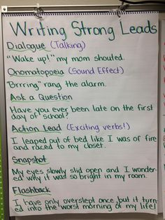 """Writing Strong Leads"" anchor chart - this should help with story writing!"