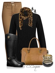 """""""Camel&Black"""" by ccroquer ❤ liked on Polyvore featuring H&M, Lisa August, Wet Seal and Tory Burch"""