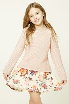 Forever 21 Girls - A woven skirt featuring an allover floral print, allover pleats, and a high-polish exposed back zipper.