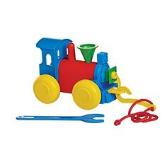 TupperToys® Build 'N Play Train - Brightly colored parts fit together to form a train, plus two tools, a hook and wrench, which are attached to a nylon cord.  Begins as a pull toy for younger children and becomes a put-together toy for older children. Design is reminiscent of an old-fashioned steam engine. For ages three+. Limited Lifetime Warranty