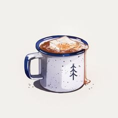 food drawing Hot Cocoa, an art print by Heather Penn - INPRNT Hot Chocolate Drawing, Hot Chocolate Art, Food Sketch, Illustration Noel, Watercolor Food, Food Painting, Thanksgiving Outfit, Food Drawing, Art Graphique