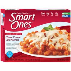 Weight Watchers Smart Ones Classic Favorites Three Cheese Ziti Marinara, 9 oz 8 grams whole grains per serving Vegetarian 300 calories 8 grams fat 4 grams fiber; Microwave Dinners, Microwave Recipes, Frozen Appetizers, Cheese Cultures, Healthy Menu, Frozen Meals, Cooking Instructions, Food Safety, A Food