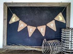 Peep Burlap Banner Baby Chick Rustic Easter Spring Triangle Pennant Sign by SweetThymes, $28.00