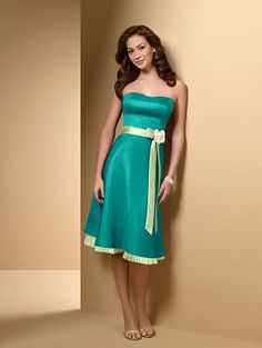 Turquoise Bridesmaids Dress Green | And picture her holding a beautiful colorful boquet!