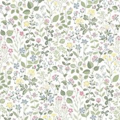 Tapet Scandinavia 10 x m Pastell Blomsteräng Non-woven Beddinge, Accent Wallpaper, Doll House Wallpaper, Mountain Wallpaper, Tree Wall Art, Vintage Country, Colour Schemes, Graphic, Cute Art