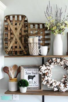 DIY Farmhouse Shelves | http://TheTurquoiseHome.com