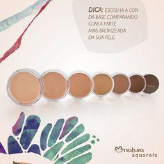 #VocêSabia que a parte mais bronzeada da pele é a melhor para escolher sua base? #NaturaAquarela #base #maquiagem