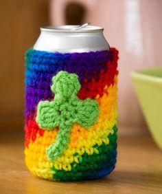 Shamrock Can Cozy Crochet Pattern | Red Heart http://www.redheart.com/free-patterns/shamrock-can-cozy