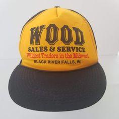 1daced077ec Wood Sales Service Snapback Mesh Trucker Hat Yellow Black River Falls  Wisconsin  truckerhat  Trucker