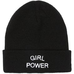 GIRL POWER BEANIE (€13) ❤ liked on Polyvore featuring accessories, hats, foldable hat, beanie caps, beanie hats, beanie cap hat and fold beanie