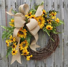 Sunflower Wreath Spring / Summer Wreath Burlap by HornsHandmade