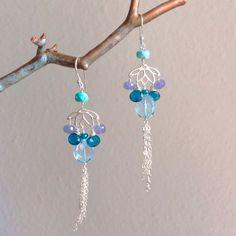 Lotus Gemstone Rain Duster Earrings by GildedPeach on Etsy