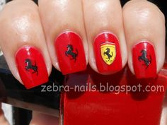KKCenterhk blog: Ferrari Nails By zebra-nails