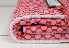 baby blanket pink polkadot on brown classic by SuperflyLullabies, $66.00