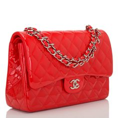 Chanel Bright Red Quilted Patent Jumbo Classic Double Flap Bag | From a collection of rare vintage handbags and purses at https://www.1stdibs.com/fashion/handbags-purses-bags/