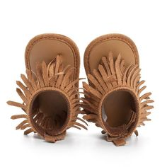 Shop cute baby girl shoes from infant fur boots to newborn baby moccasins at The Trendy Toddlers. Find sneakers, flats, sandals & more. Soft Baby Shoes, Baby Crib Shoes, Baby Moccasins, Leather Moccasins, Little Girl Shoes, Girls Shoes, Teething Stages, Boho Festival Fashion, Fringe Sandals