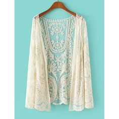 Stylish Lace Crochet Flower See-Through Long Sleeve Women's Blouse, OFF-WHITE, ONE SIZE in Blouses | DressLily.com