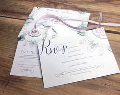 Personalized wedding RSVP cards  hand by PrintmadeStudio on Etsy