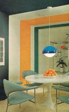 Vintage Spaces Striped Dining Room