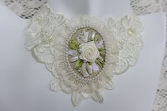 "White-green vintage inspired victorian style lace necklace and hand made floral cameo brooch with silk ribbon embroidery ""Pure happiness"" by Virvi on Etsy"