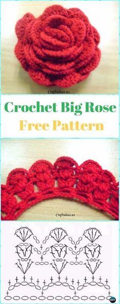 Crochet Big 3D Rose Flower Free Pattern -Crochet 3D Rose Flower Free Patterns