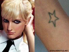 Ashlee Simpson's star tattoo on her wrist