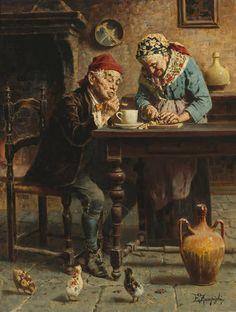 Eugenio Zampighi (Italian, 1859-1944) A tasty meal.
