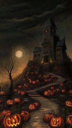 Retro Halloween, Spooky Halloween, Halloween Kunst, Halloween Mignon, Fröhliches Halloween, Image Halloween, Halloween Artwork, Halloween Painting, Halloween Haunted Houses