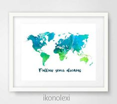 Baby Boy Room Decor, Watercolor World Map Print, World Map Wall Art, World Map Poster, Travel Map, Blue White Green, World Map Quote by Ikonolexi on Etsy