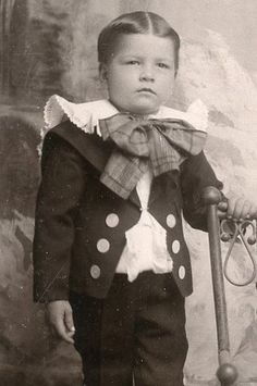 """+~+~ Antique Photograph ~+~+  Little boy in fancy """"Lord Fauntleroy"""" outfit."""