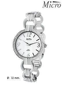 Reloj de acero Micro para mujer y señora, mecanismo de cuarzo. Números árabes y bisel de circonitas.