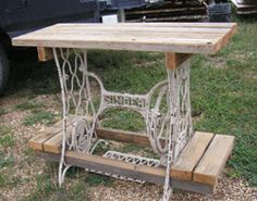 Table made from a singer sewing machine