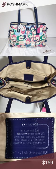 NWT Coach Tote Navy Cream Pink New with tags Coach medium size tote. Coach Bags Totes