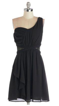 Modcloth - one shoulder short black bridesmaid dress