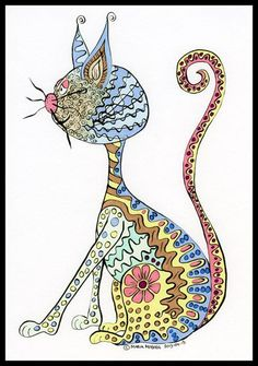 Cat illustration - Illustrated Cat - Fantasy Cat - Saturday Cat - Illustration… #CatIllustration