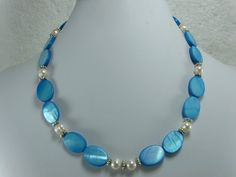 Ocean Blue Mother of Pearl Beaded Necklace by NaturesJewelsByVina, $34.99