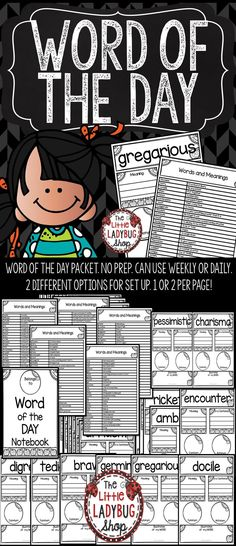Word of the Day is a Fantastic way to GROW your students vocabulary and enrich their writing. This PRINT and GO packet contains 110 Words to use daily or weekly in your word study. These words are perfect for a quick study for your students in: 3rd Grade, 4th Grade and 5th grade.