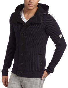 J.C. Rags Men's Rib Felt Hooded Knit Sweater.
