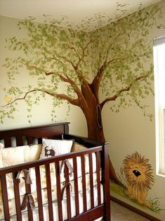 baby room design wall design lattice bed wall painting tree lion rnrnSource by MiniRabauken Jungle Nursery, Elephant Nursery, Nursery Room, Kids Bedroom, Nursery Ideas, Baby Room Design, Nursery Design, Wall Design, Baby Room Boy
