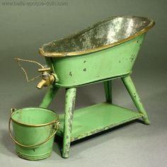 Antique Dollhouse Tin Bathroom Set