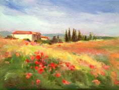 Title: Tuscan Hillside © Medium: Oil on gallery wrapped canvas. No staples show on sides. Size: 9H x 12H Framing: This painting is unframed.