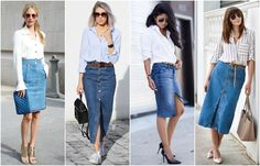 Denim Pencil Skirt Outfit, Denim Skirt Outfits, Denim Outfit, Love Jeans, Jeans Rock, Double Denim Looks, Modest Fashion, Fashion Outfits, Petite Outfits