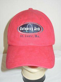 5c051fe2f5c26 VTG Gateway Arch St Louis Missouri OSFA baseball hat cap red sewn logo   GEARFORSPORTS  BaseballCap